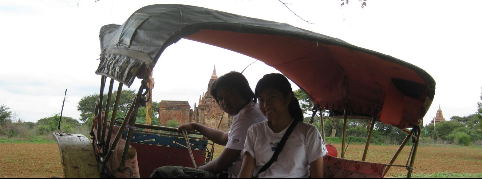 On a horse carriage in Bagan, Myanmar