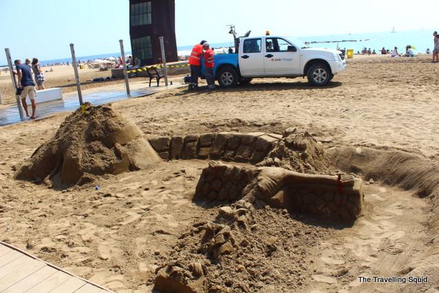 barceloneta beach sandcastle