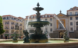 mermaid fountains rossio square lisbon