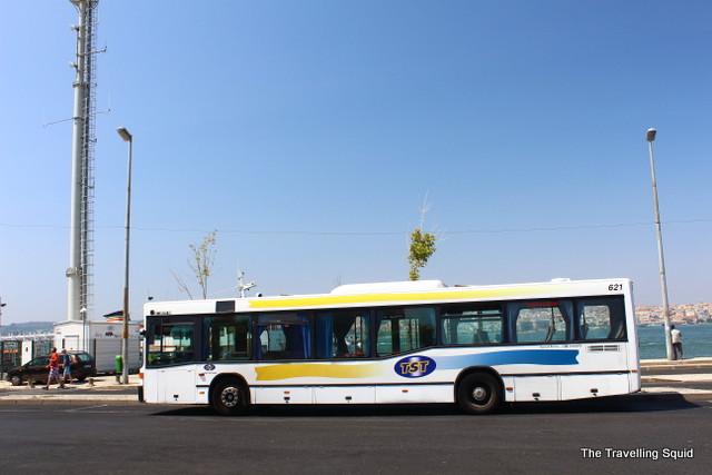 Bus 101 ship Cacilhas lisbon cristo rei