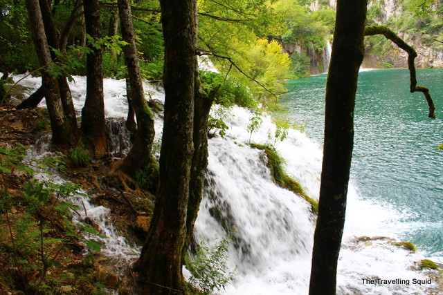 plitvice lakes gushing waterfalls