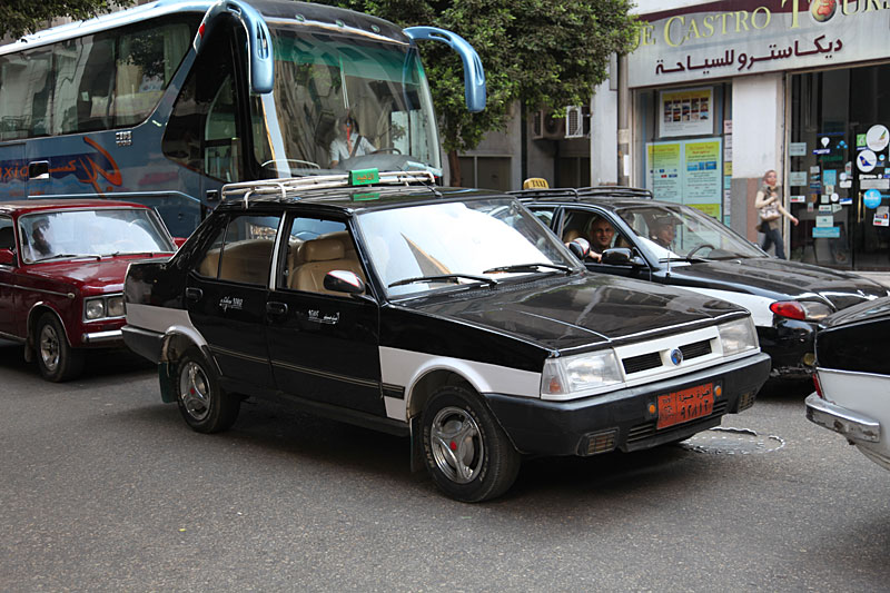 Cairo transport black and white taxi cab