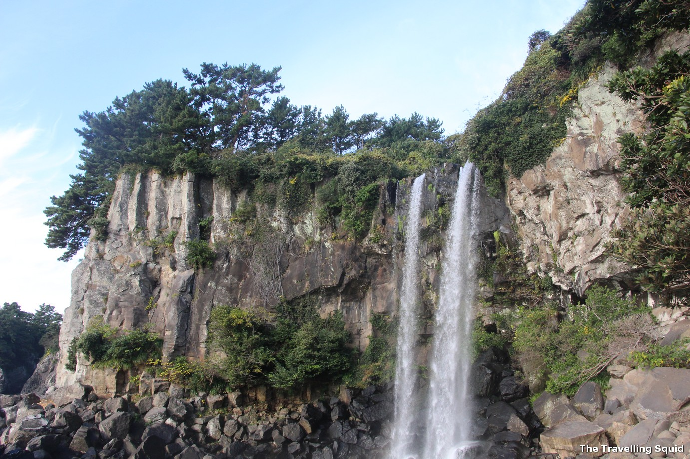 Jeongbang waterfall in Jeju