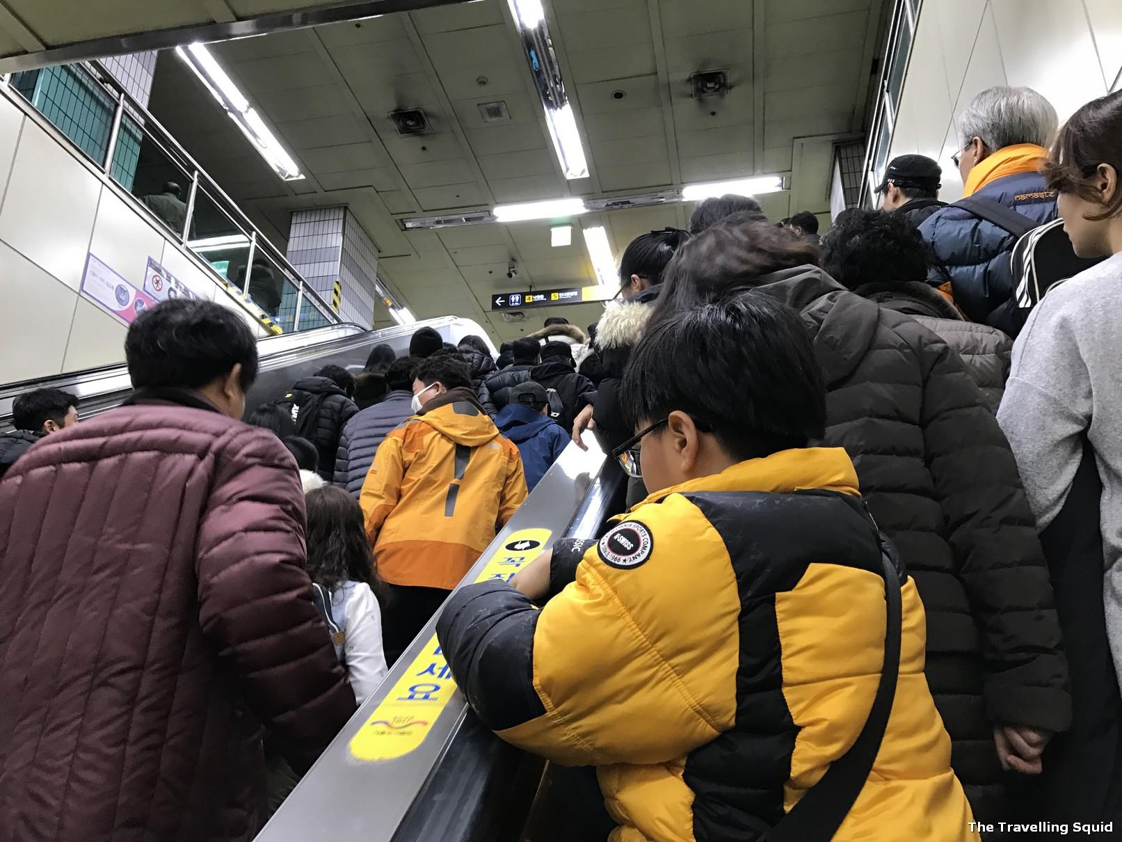 Seoul subway packed