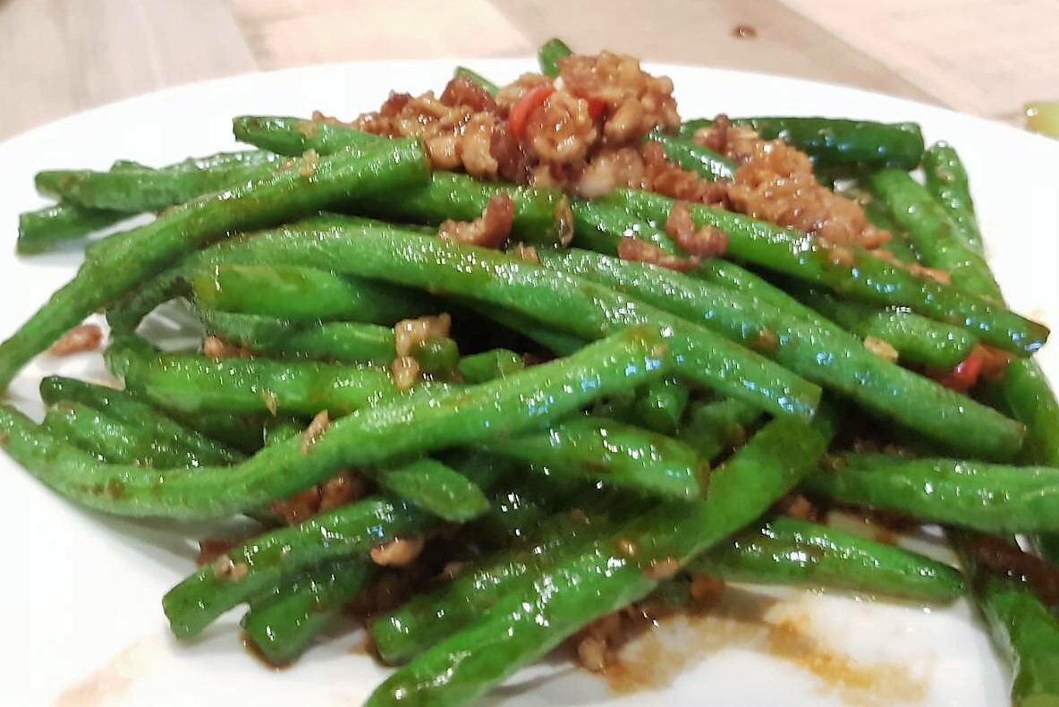 senze taiwan porridge fried string bean with mince pork