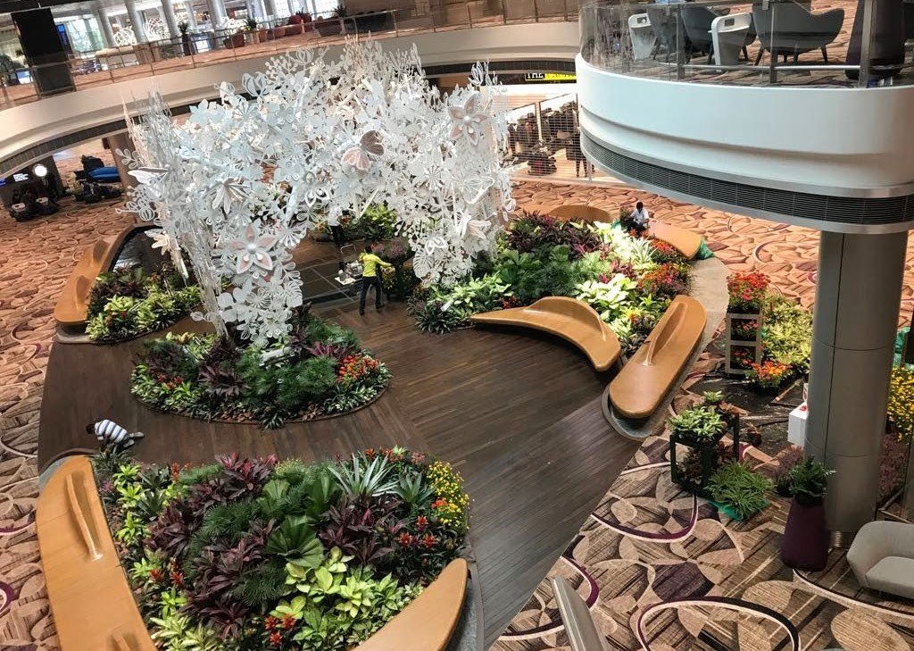 Lush indoor gardens at Changi terminal 4