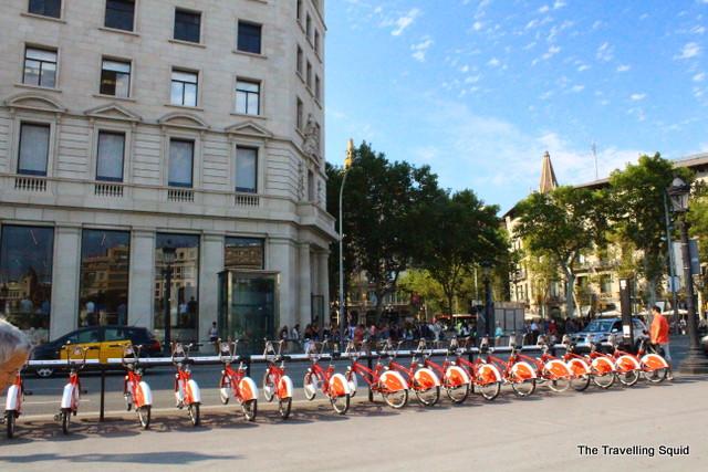 Placa de Catalunya rented bicycles