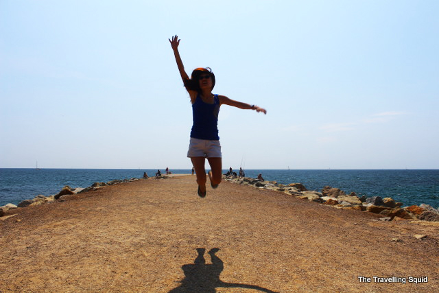 barceloneta beach jump shot
