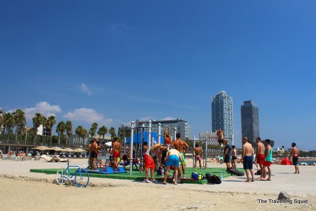 barceloneta beach exercise bar