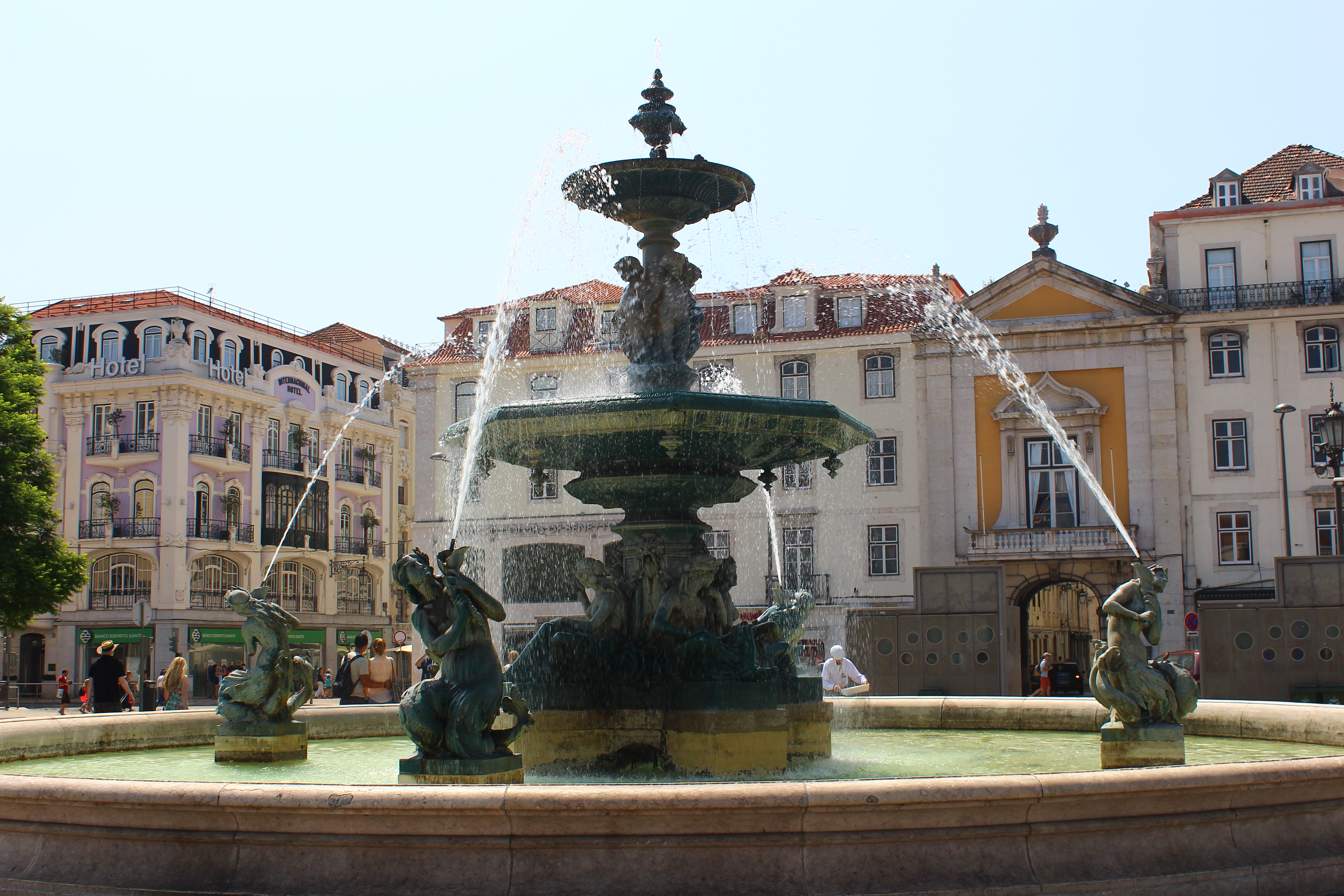 mermaid fountains rossio square lisbon