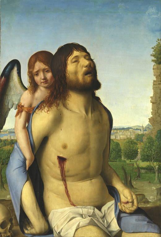 dead christ held up by an angel prado museum