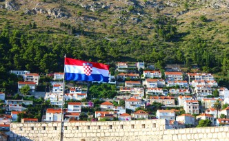 dubrovnik old city walls croatian flag