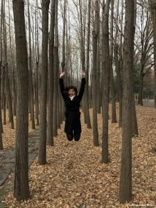 seoul forest ginko trees jumpshot