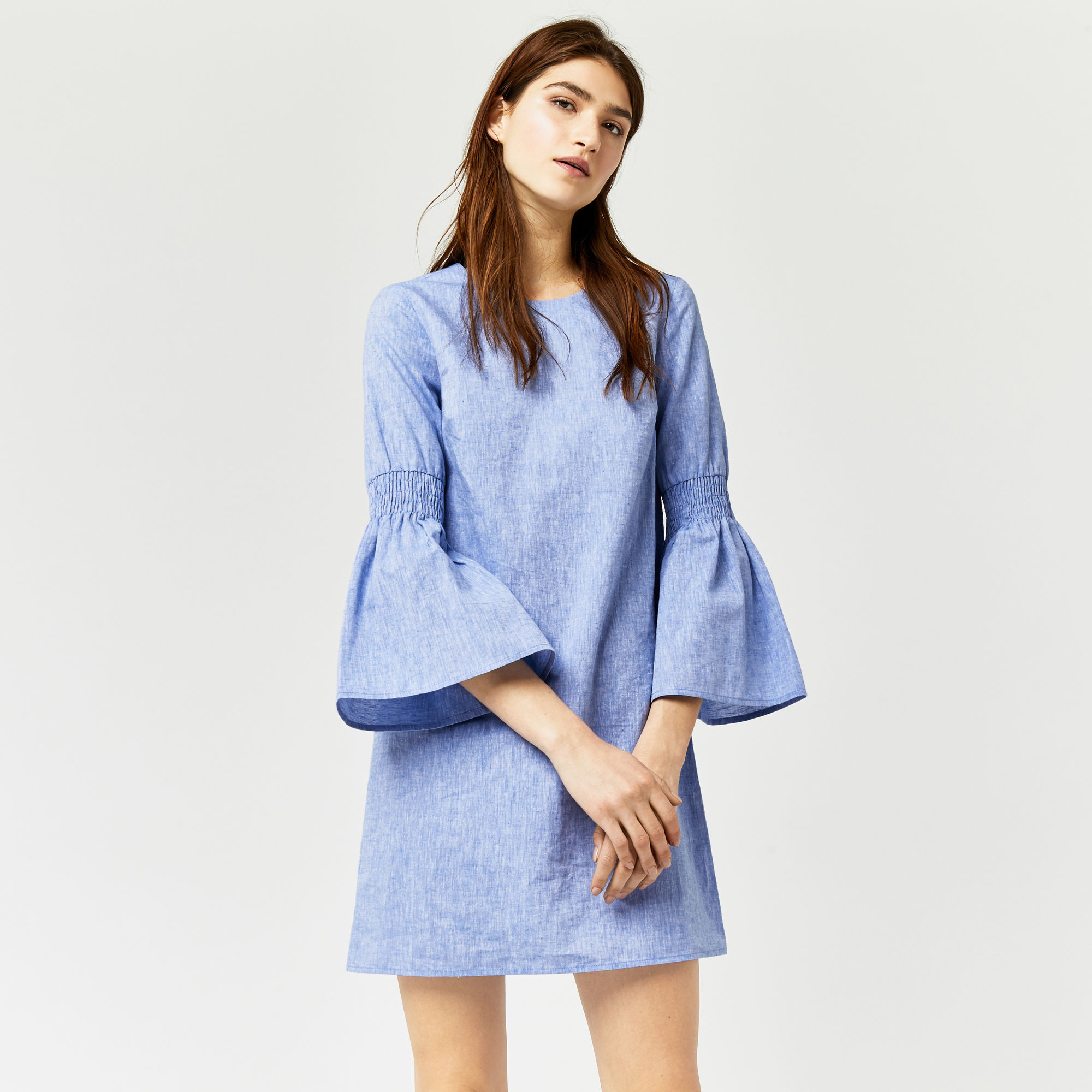warehouse chambray smoke sleeve dress