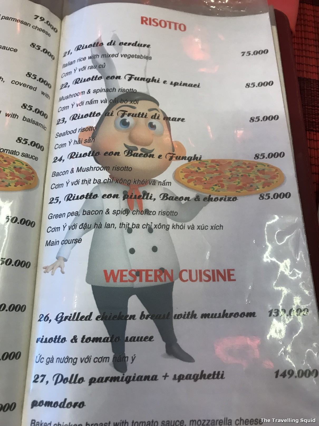 risotto restaurant menu hue vietnam