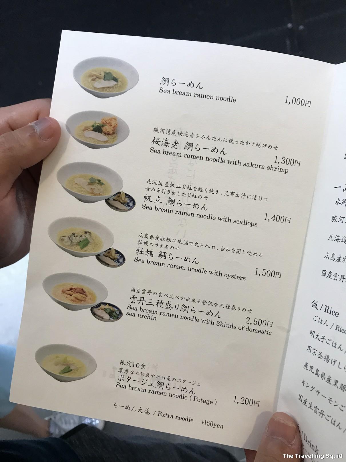 sea bream ramen at Menya Maishi in Ginza Tokyo menu