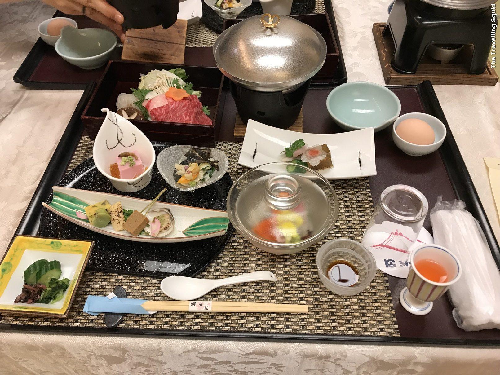 kaiseki dinner at Hotel Konanso in Kawaguchiko