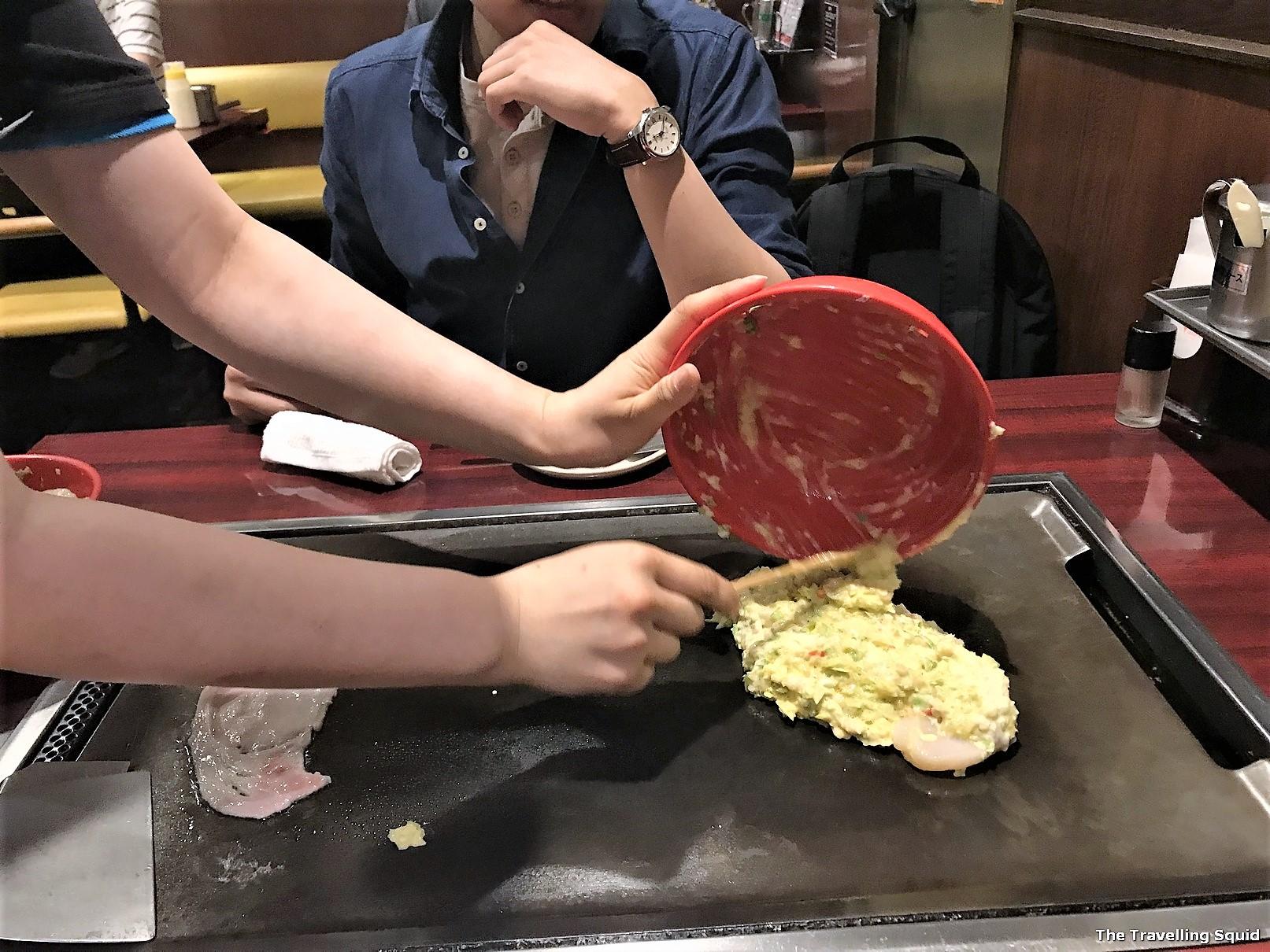 Yukari in Osaka for Okonomiyaki