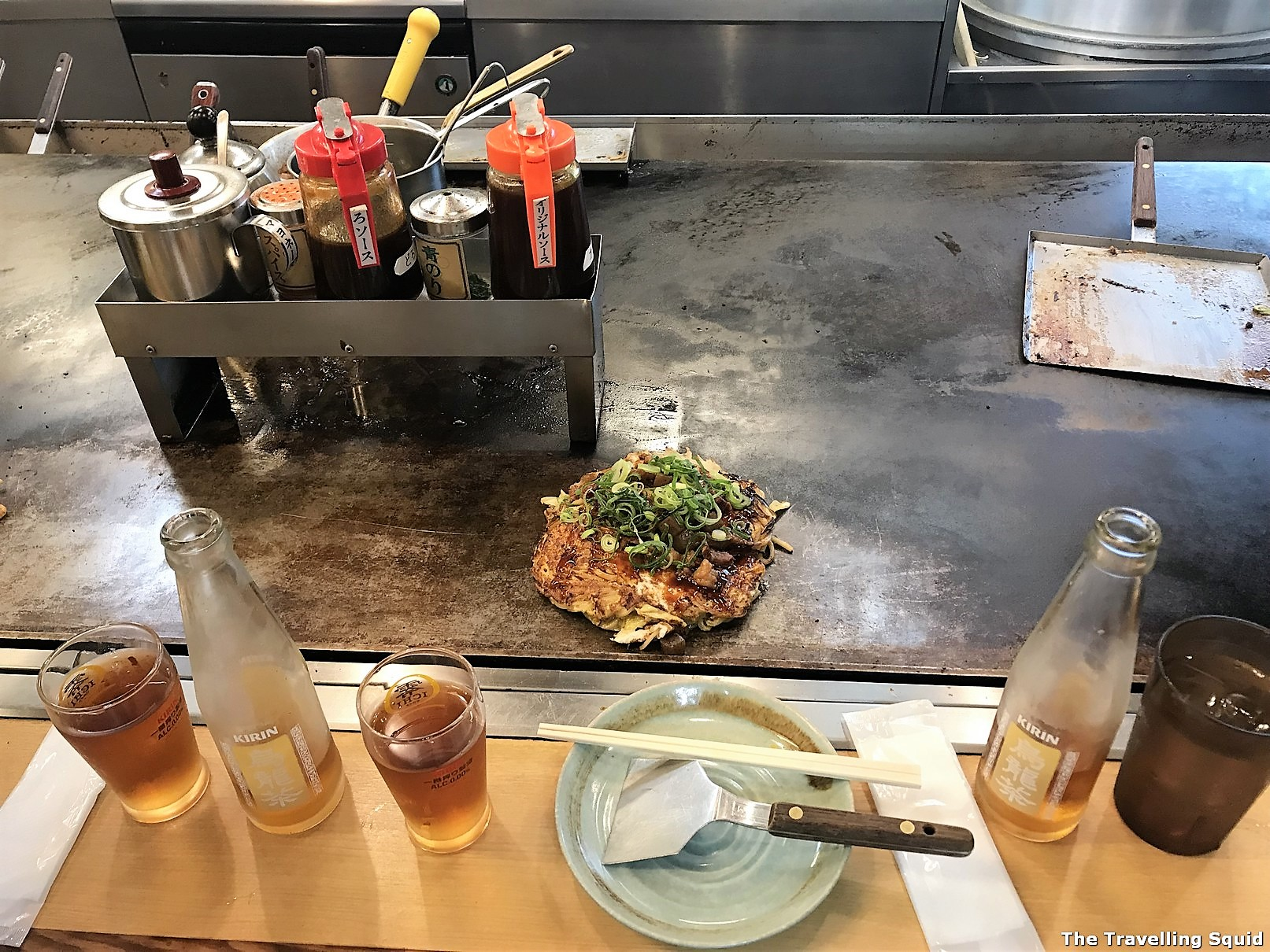 hiroshima style okonomiyaki Nagatahonshou in Kobe Sannomiya for good Yakisoba