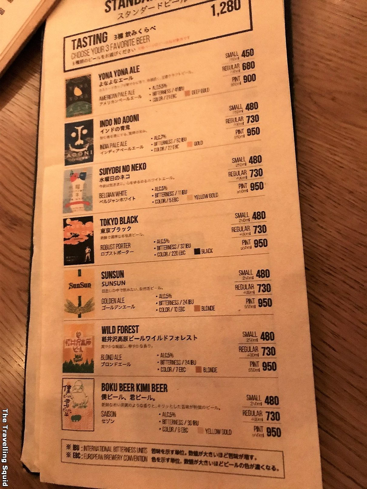 menu Yona Yona Beer Works in Shinjuku