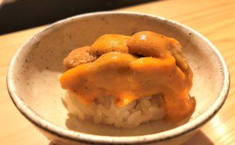 sea urchin uni rice edomae sushi at Sushi Satake in Tokyo