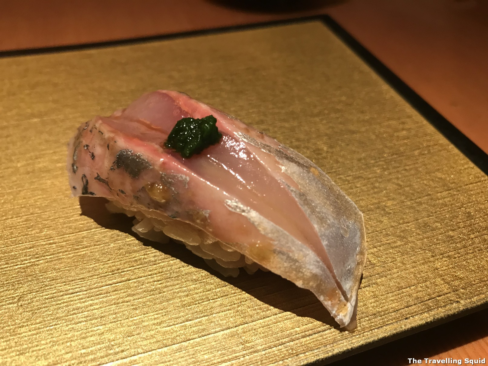mackerel contemporary sushi at Manten Sushi in Tokyo