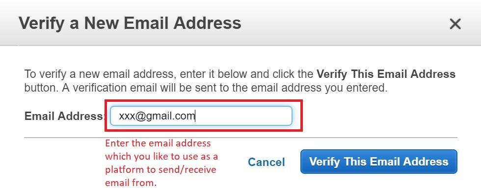 Amazon SES Gmail verify Gmail address 6