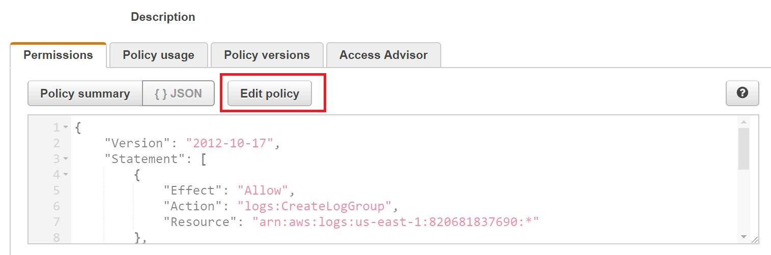 AWS Lambda IAM policy