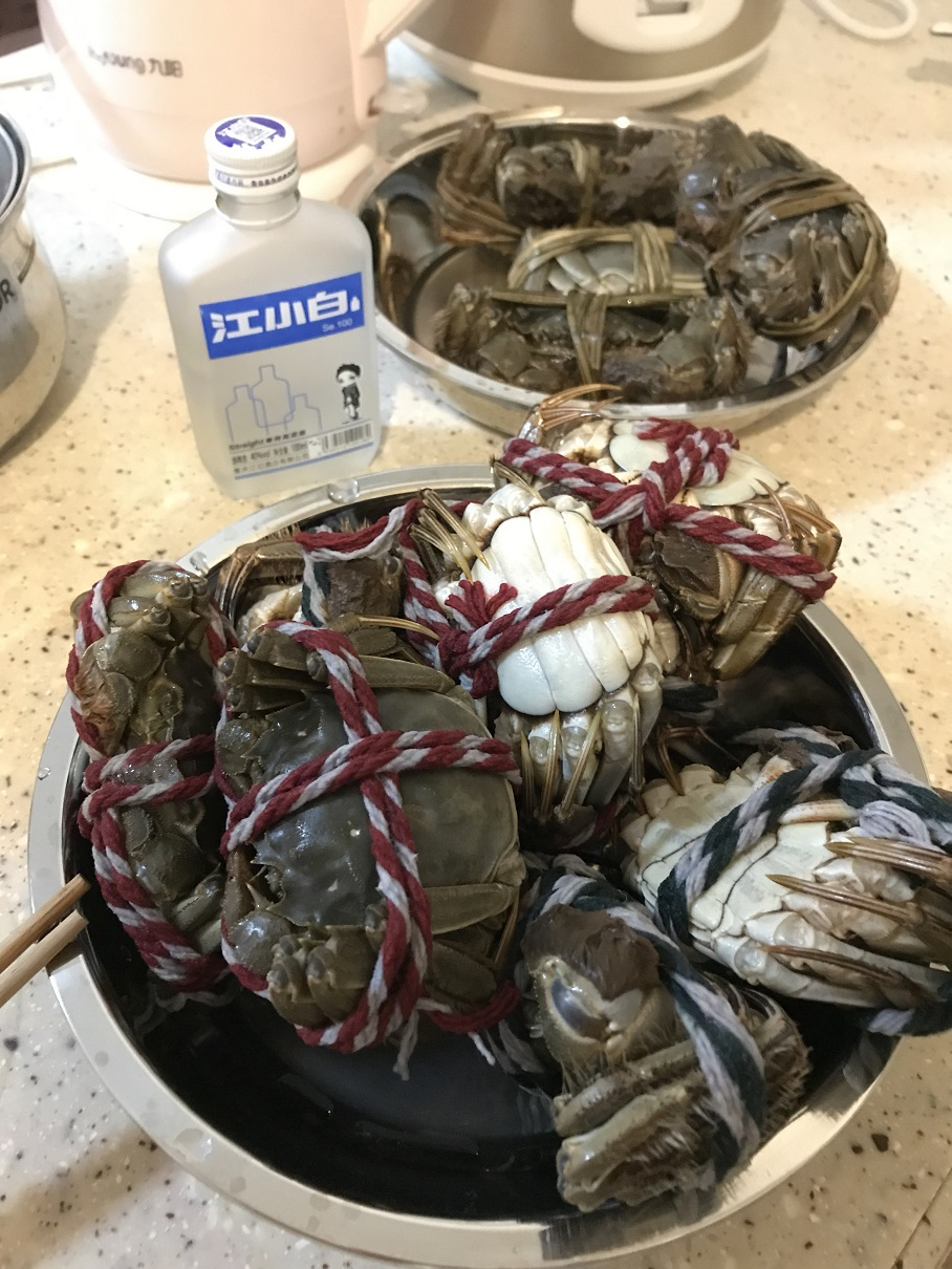 steaming hairy crabs alcohol