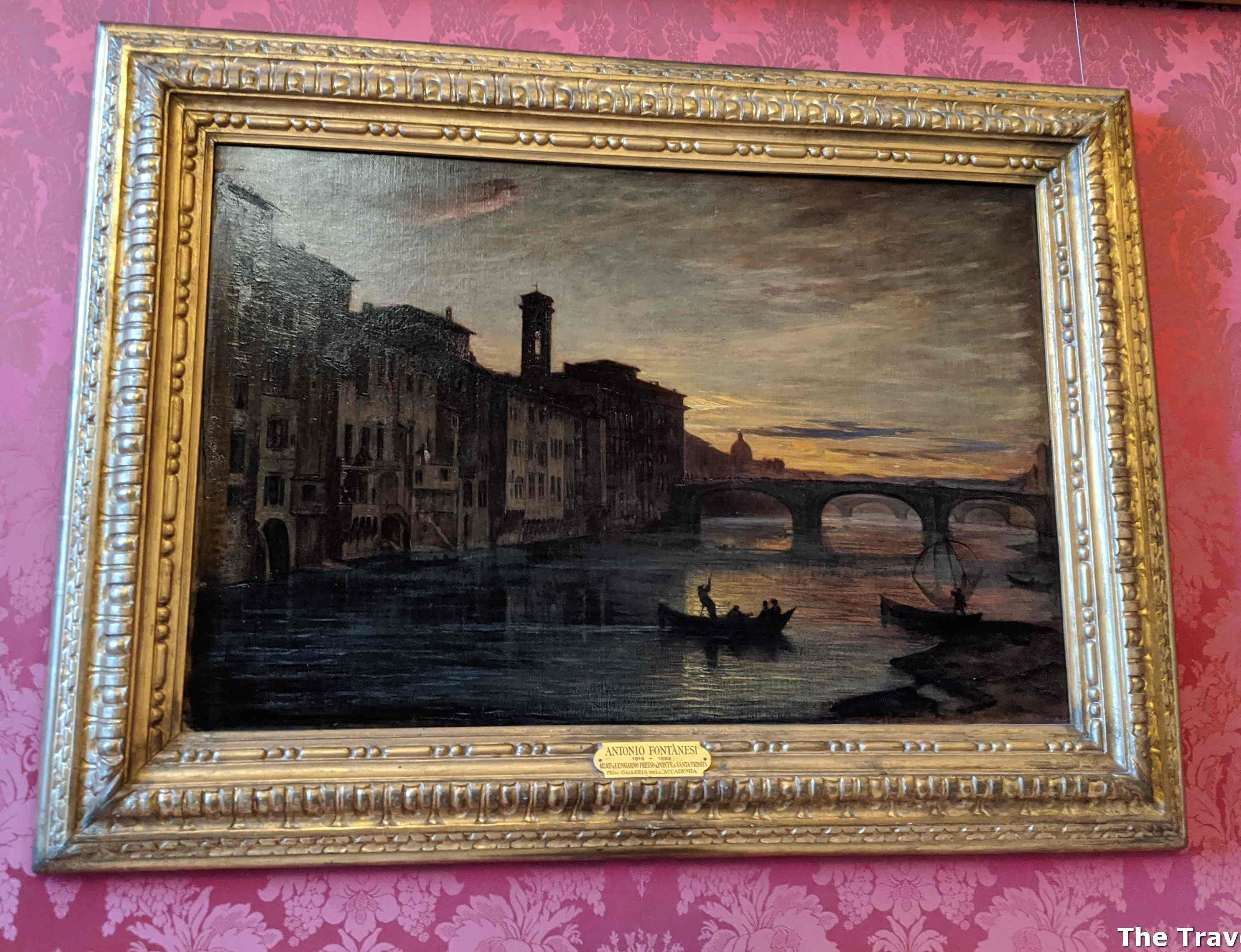 The Arno River And The Holy Trinity Bridge In Florence by Antonio Fontanesi