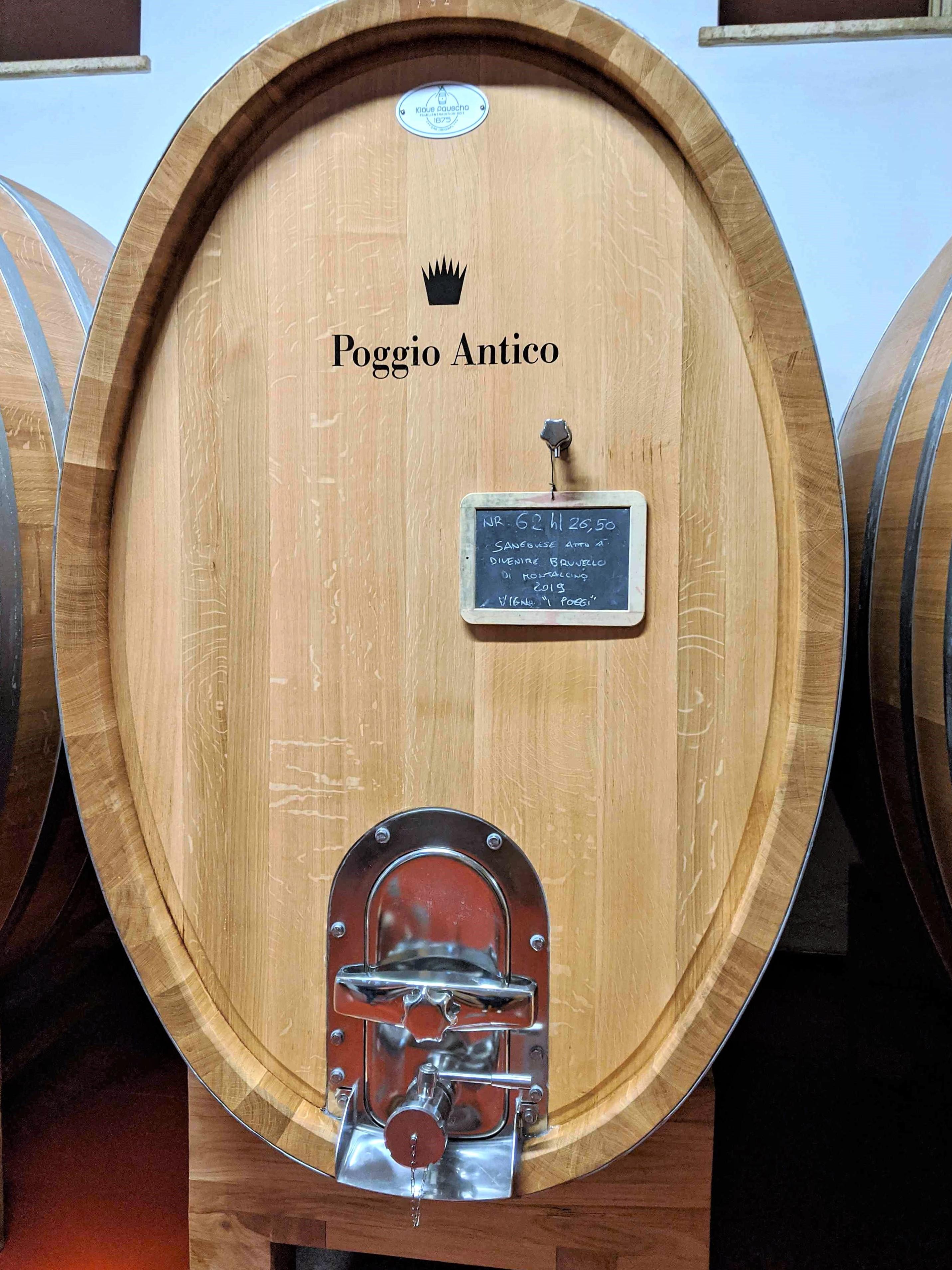 cellar door of Poggio Antico in Montalcino